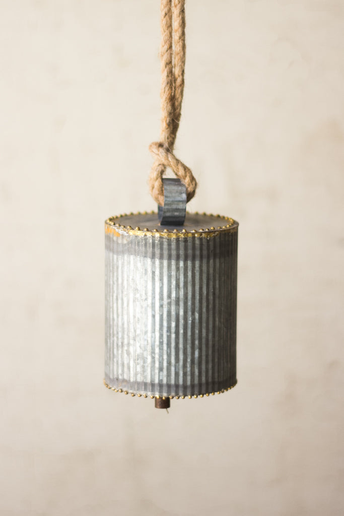 GALVANIZED BELL WITH BRASS BEADED DETAIL & ROPE HANGER