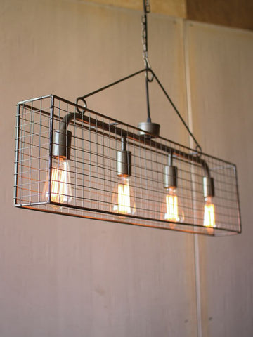 FOUR BULB MESH PENDANT LIGHT