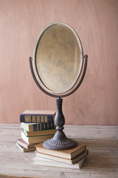 IRON MIRROR ON A STAND - OVAL