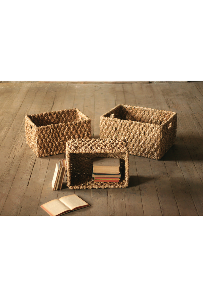 SET OF 3 RECTANGLE CHUNKY BRAIDED SEAGRASS STORAGE BASKETS