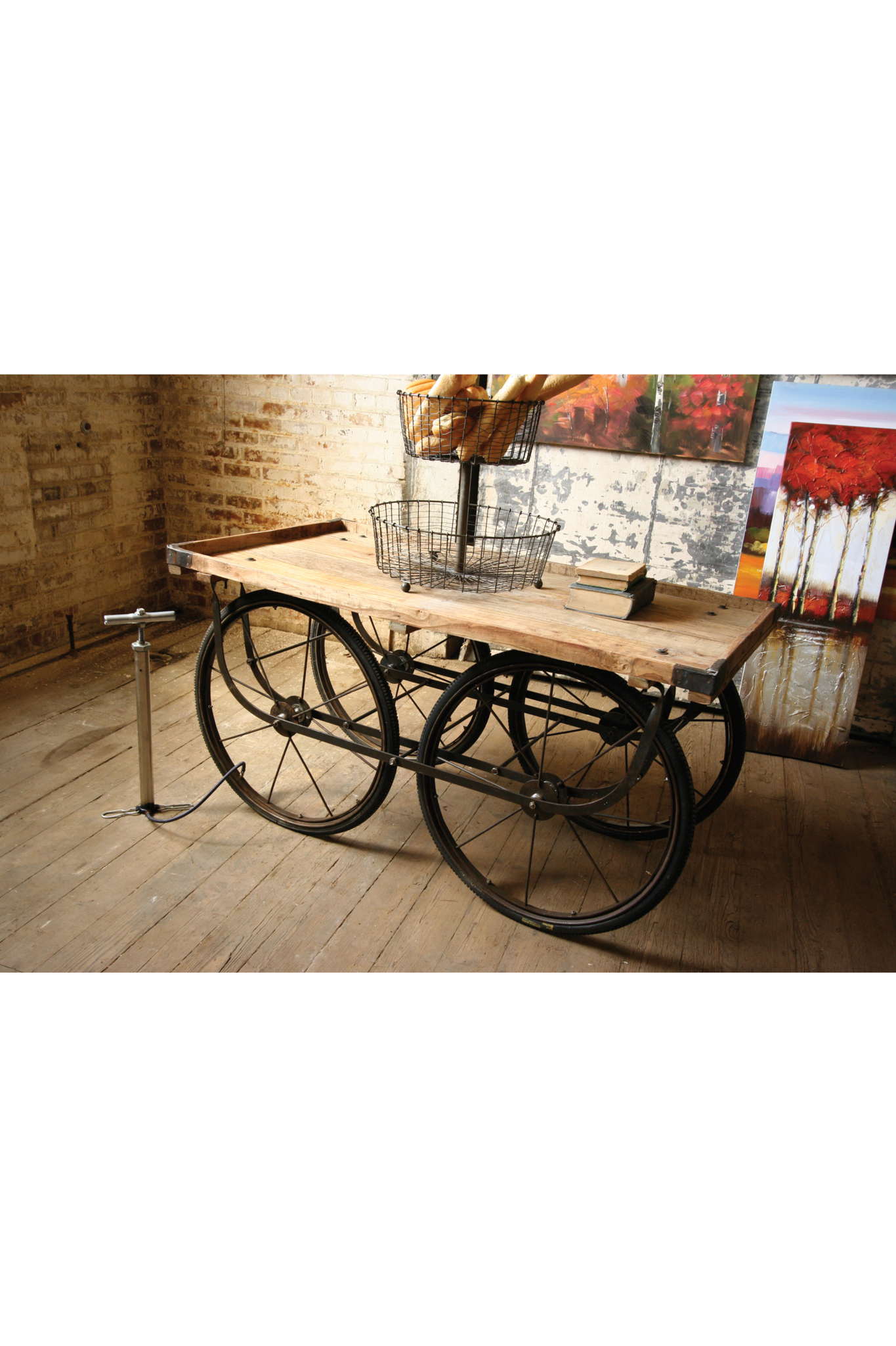 RECYCLED WOOD AND IRON ROLLING VENDOR CART WITH BICYCLE TIRE PUMP