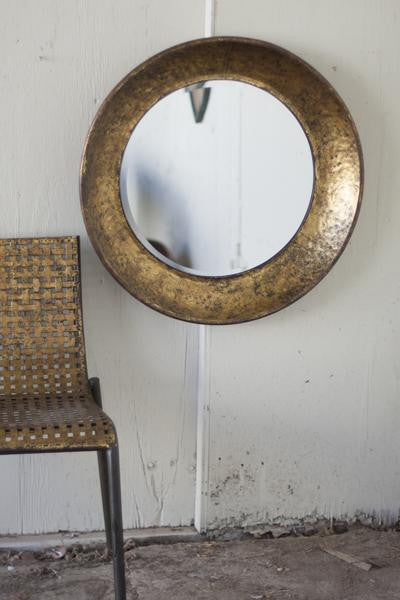 ROUND ANTIQUED GOLD METAL MIRROR