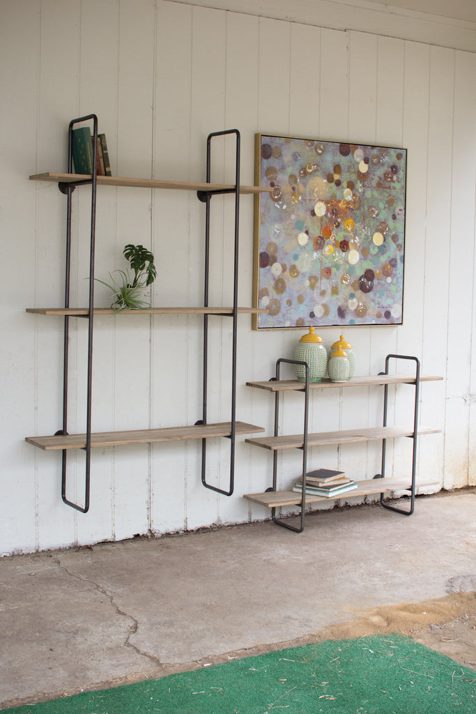 THREE TIERED METAL TUBE FRAME WALL SHELF WITH WOODEN SHELVES