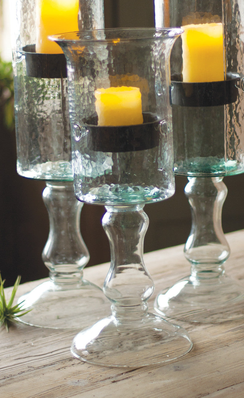 GLASS CANDLE CYLINDER WITH METAL INSERT AND GLASS BASE (4 SIZES AVAILABLE)