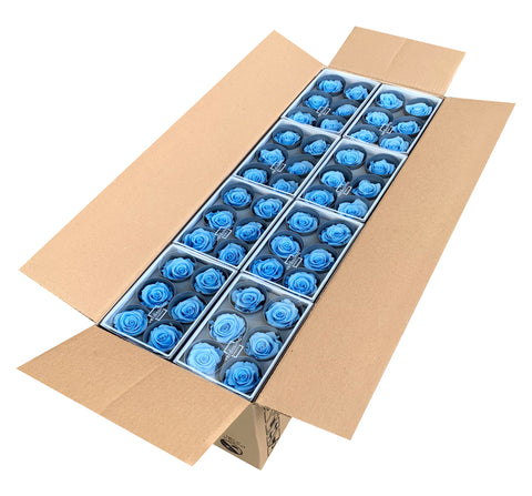 Rose Heads (Bulk 144 Roses) - Light Blue