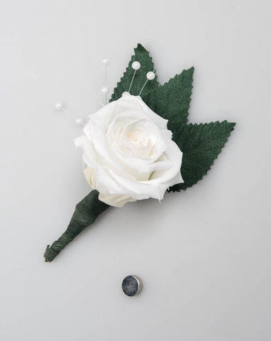 Rose Boutonniere - White