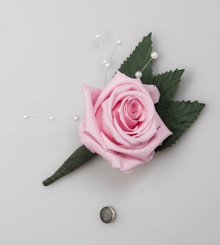 Rose Boutonniere - Light Pink