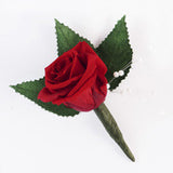 Rose Boutonniere - Red
