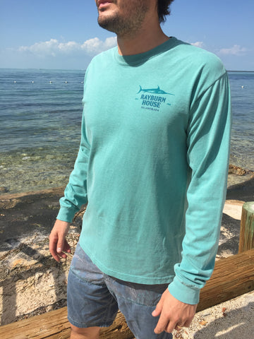 Rayburn House Men's Long Sleeve T Shirt - Soft Teal