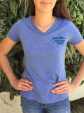 Rayburn House Ladies V Neck Tee - Blue Tri Blend