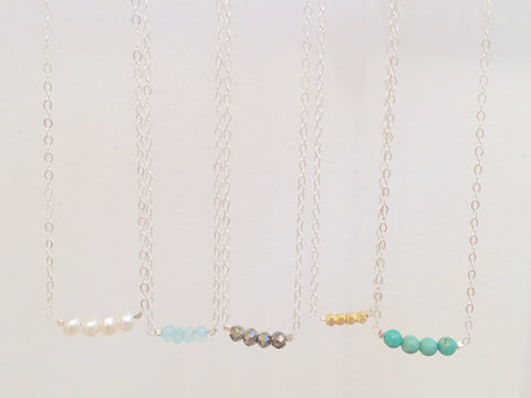 Dainty Gemstone Necklace - Small (Sterling Silver Chain)