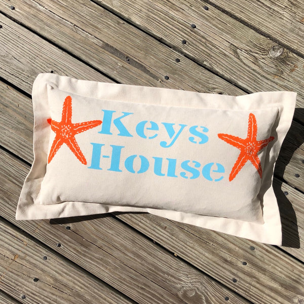'Keys House' Pillow - Lumbar with Starfish
