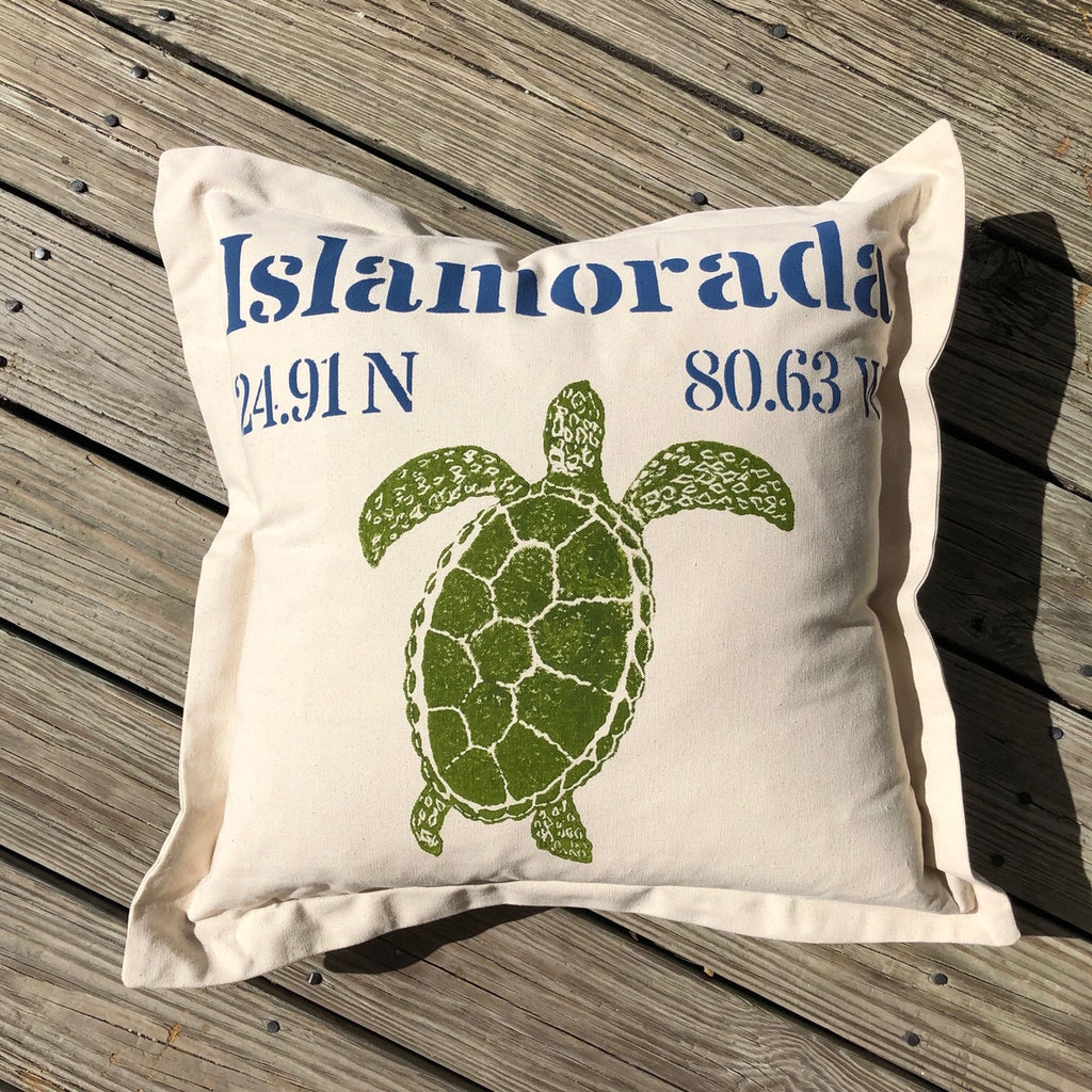 Islamorada Lat Lo Pillow - Square with Turtle