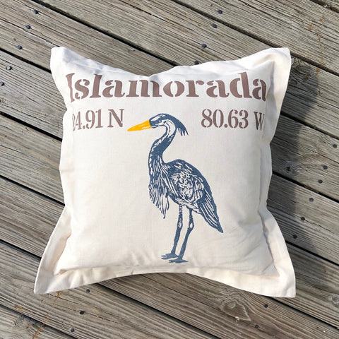 Islamorada Lat Lo Pillow - Square with Heron