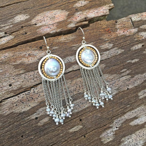 Pearl Dream Catcher Earrings