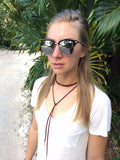 Black Vintage Sunglasses w/ Silver Mirror Lenses & Skinny Arms