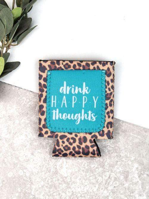 Jen & Kenra's Koozies Drink Happy Thoughts Leopard Print Pocket Koozie