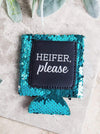 Jen & Kenra's Koozie Heifer Please Turquoise Sequins Pocket Koozie