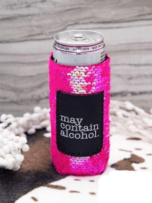 Jen & Kenra's Koozies May Contain Alcohol Sequin Slim Can Pocket Koozie