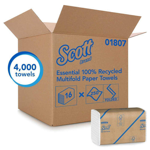 Kimberly-Clark Scott 01807 Essential 100% Recycled Fiber Multi-Fold Towels, 4,000 Case (3088) - Janitorial Superstore