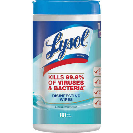 Lysol Lysol Disinfecting Wipes, 7 x 8, Ocean Fresh, 80 Wipes/Canister - Janitorial Superstore