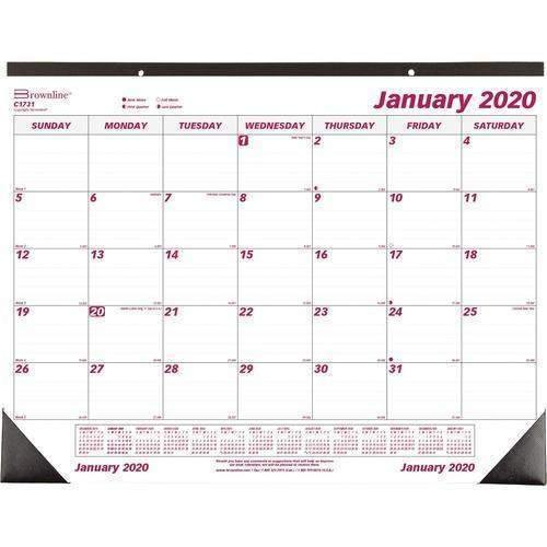 Brownline Brownline Monthly Deskpad Calendar, Chipboard, 22 x 17, 2020 - Janitorial Superstore