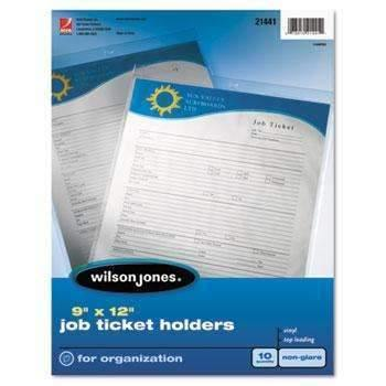 Wilson Jones® Job Ticket Holder, Non-Glare Finish, Clear Front/Frosted Back, 10/Pack