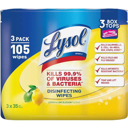 Lysol Lysol Disinfecting Wipes, 7 x 8, Lemon and Lime Blossom, 35 Wipes/Canister, 3 Canisters/Pack - Janitorial Superstore