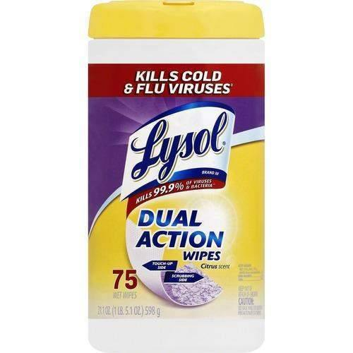 LysolLysol Dual Action Disinfecting Wipes, Citrus, 7 x 8, 75/Canister