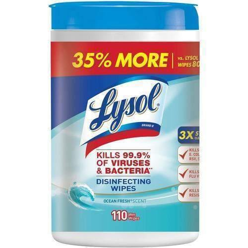 Lysol Lysol Disinfecting Wipes, 7 x 8, Ocean Fresh, 110 Wipes/Canister - Janitorial Superstore