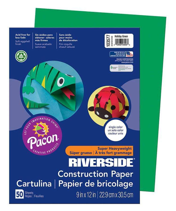 PaconPacon Riverside Construction Paper (103577), 76 lbs, 9 x 12, Holiday green, 50 Sheets/Pack