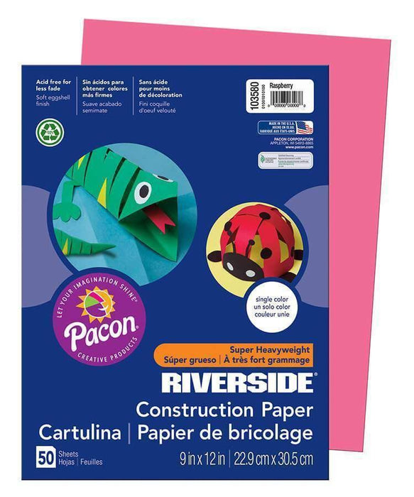 Pacon Pacon Riverside Construction Paper (103580), 76 lbs, 9 x 12, Raspberry, 50 Sheets - Janitorial Superstore