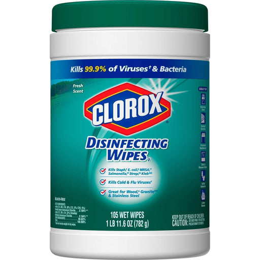 CloroxClorox Disinfecting Wipes, 7 x 8, Fresh Scent, 105/Canister