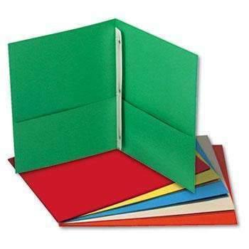 Janitorial SuperstoreUniversal® Two-Pocket Portfolios w/Tang Fasteners, 11 x 8-1/2, Assorted, 25/Box