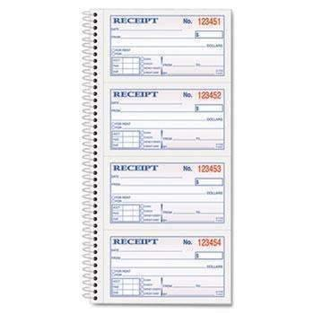 Janitorial SuperstoreTOPS™ Money/Rent Receipt Spiral Book, 2-3/4 x 4 3/4, 2-Part Carbonless, 200 Sets/Book