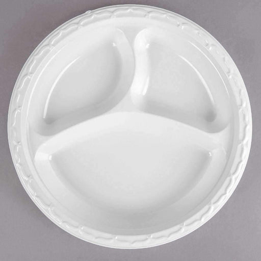 Janitorial Superstore White Plastic Plates 10.25 3 comp 500cs - Janitorial Superstore