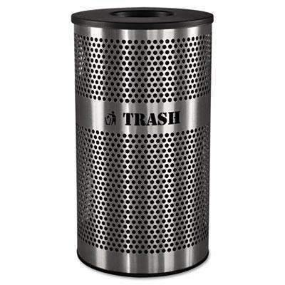 Janitorial SuperstoreEXCELL METAL PRODUCTS CO Stainless Steel Trash Receptacle, 33gal, Stainless Steel