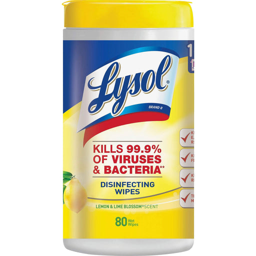 Lysol Lysol Disinfecting Wipes, 7 x 8, Lemon and Lime Blossom, 80 Wipes/Canister - Janitorial Superstore