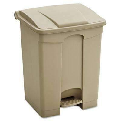 Janitorial Superstore17 gal Safco Products Large Capacity Plastic Step-On Receptacle, Tan