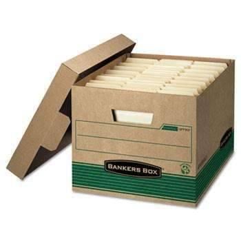 Janitorial Superstore Bankers Box® STOR/FILE Extra Strength Storage Box, Letter/Legal, Kraft/Green, 12/Carton - Janitorial Superstore