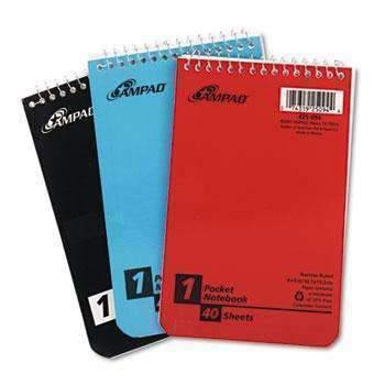 Janitorial SuperstoreAmpad™ Wirebound Pocket Memo Book, Narrow, 4 x 6, White, 40 Sheets, 3 Pads/Pack