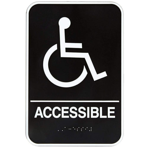 Janitorial SuperstoreHandicap Accessible Sign with Braille - Black and White, 6 x 9
