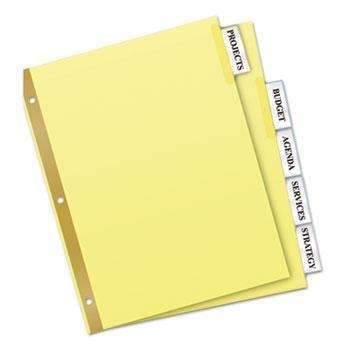 Janitorial Superstore Avery® WorkSaver Big Tab Reinforced Dividers With Clear Tabs, 5-Tab, Letter, Buff - Janitorial Superstore