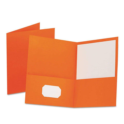 OxfordOxford Twin-Pocket Folder, Embossed Leather Grain Paper, Orange, 25/Box