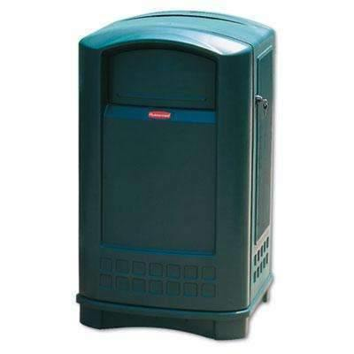 Janitorial SuperstoreRUBBERMAID COMMERCIAL PROD. Plaza Indoor/Outdoor Waste Container, Rectangular, Plastic, 50 gal, Green