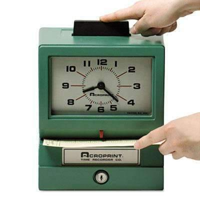 Janitorial SuperstoreACRO PRINT TIME RECORDER Model 125 Analog Manual Print Time Clock with Date/0-12 Hours/Minutes
