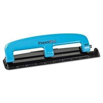 Janitorial Superstore PaperPro® 12-Sheet Capacity ProPunch Compact Three-Hole Punch, Rubber Base, Blue/Black - Janitorial Superstore