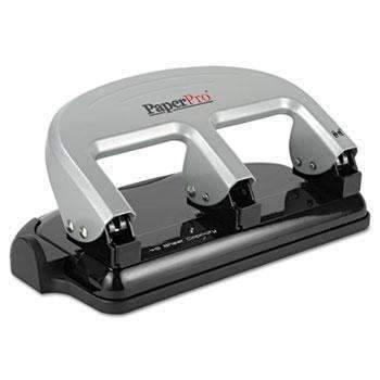 Janitorial Superstore PaperPro® 40-Sheet Capacity ProPunch Three-Hole Punch, Rubber Base, Black/Silver - Janitorial Superstore