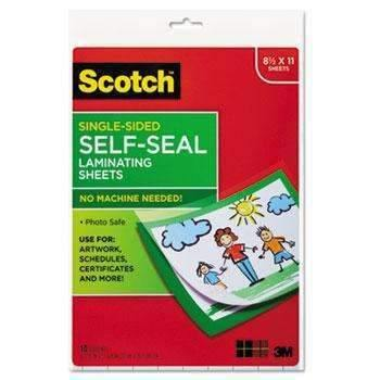 Janitorial Superstore Scotch™ Self-Sealing Laminating Sheets, 6.0 mil, 8 1/2 x 11, 10/Pack - Janitorial Superstore