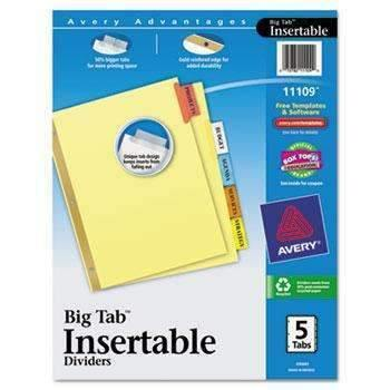 Janitorial Superstore Avery® WorkSaver Big Tab Reinforced Dividers, Multicolor Tabs, 5-Tab, Ltr, Buff, 1/Set - Janitorial Superstore